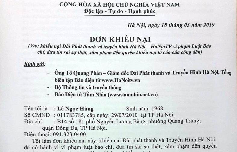 Đài Phát thanh & Truyền hình Hà Nội và Hanoitv.vn bị khiếu nại vì bình luận, đưa tin sai sự thật?