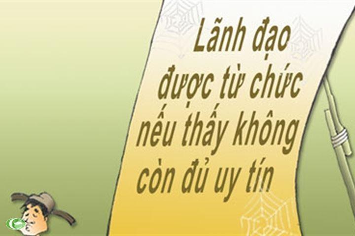 lanh dao chu chot phai chu dong tu chuc khi khong con uy tin hoac de cap duoi truc tiep co sai pham