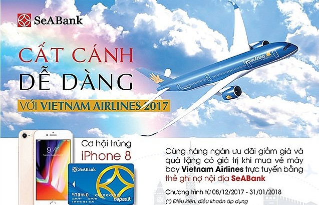 giam 15 gia ve may bay va tang iphone 8 cho chu the seabank