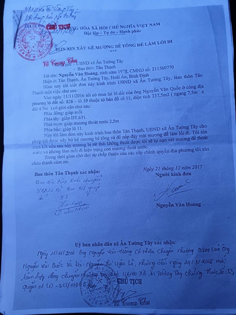 Bình Định: Chủ tịch UBND xã Ân Tường Tây, huyện Hoài Ân - xác nhận mà không hiểu nội dung