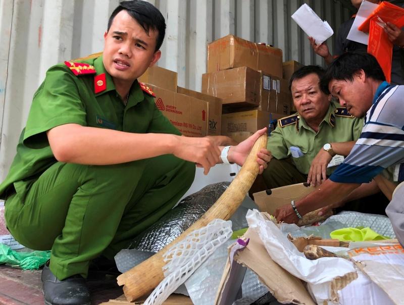 """Bình Định: Tạm giữ ô tô container """"chuyển phát nhanh"""" chở ngà voi"""