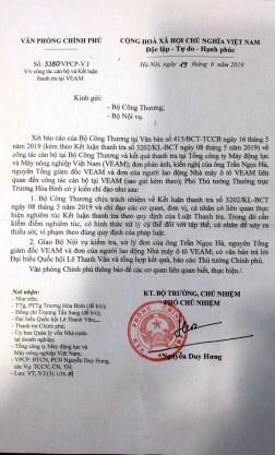 Sai phạm tại Veam: Thủ Tướng chính phủ chỉ đạo xử lý nghiêm theo qui định của Pháp luật