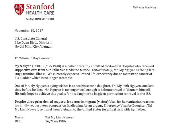 Chị Mỹ Linh ở Sài Gòn được cấp visa sang Mỹ gặp bố ung thư giai đoạn cuối với lần phỏng vấn thứ 5