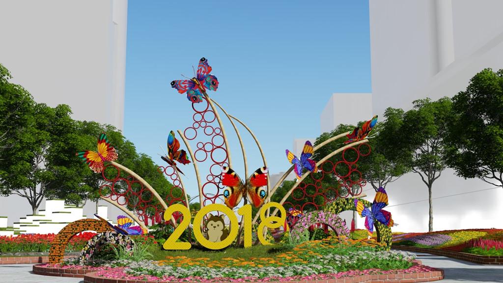 Phối cảnh hình ảnh đường hoa Nguyễn Huệ tết Mậu Tuất 2018