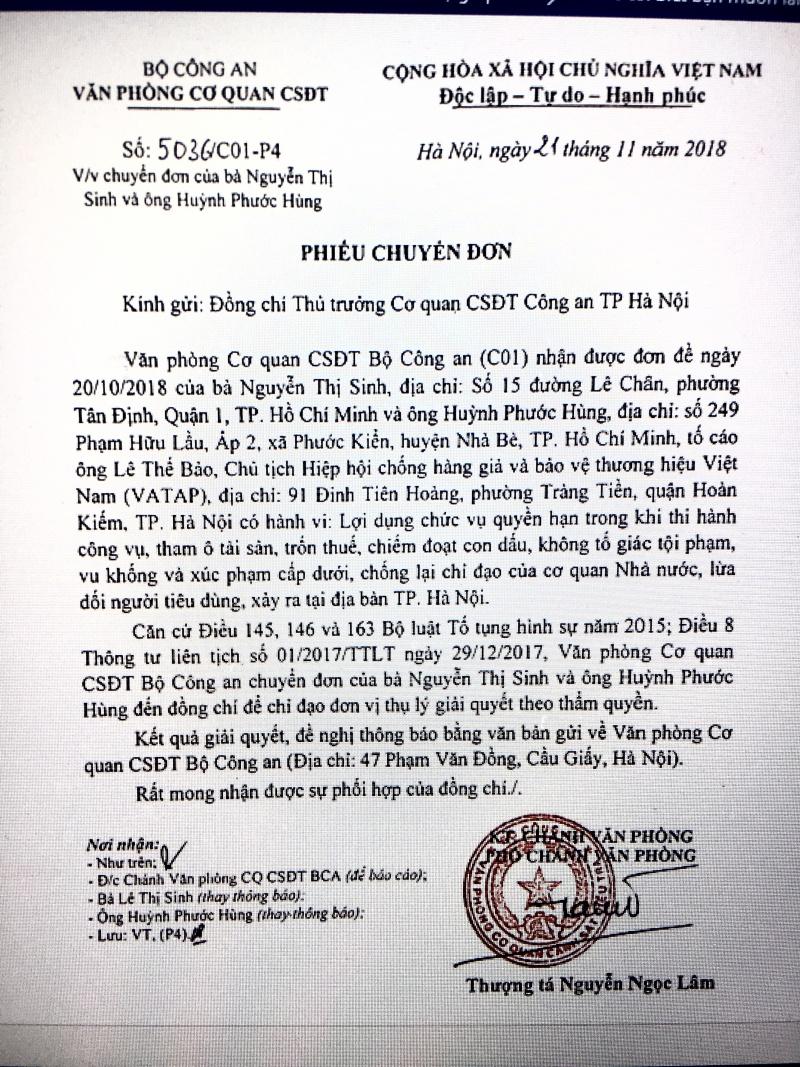 VATAP: Phó chủ tịch Nguyễn Trọng Khanh sai phạm chồng sai phạm