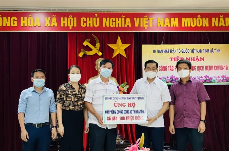 VUSTA ủng hộ Hà Tĩnh phòng, chống dịch bệnh COVID-19