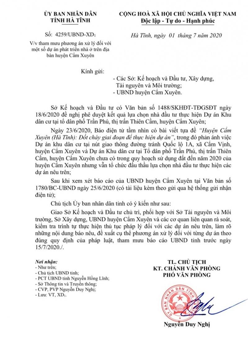 UBND tỉnh Hà Tĩnh chỉ đạo kiểm tra, xử lý nội dung báo nêu