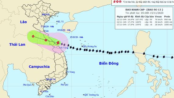 Bão số 13 sắp vào bờ, miền Trung sẽ có mưa to