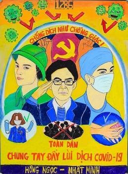 Bộ tranh vẽ: Cổ động phòng, chống Covid-19 đầy ý nghĩa của trường THPT Cửa Tùng - Quảng Trị