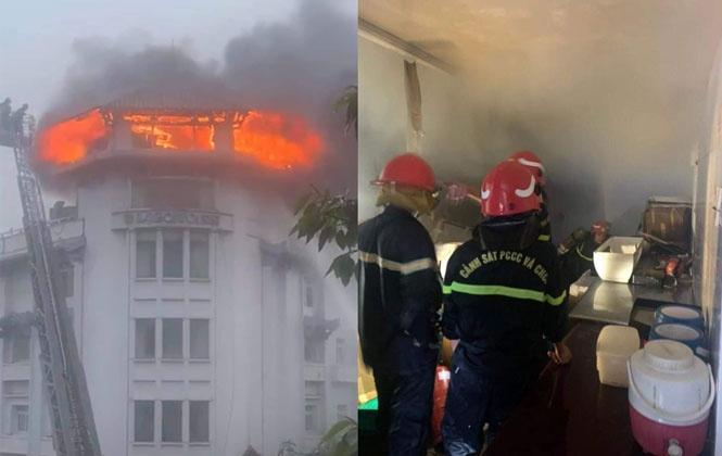 Một khách sạn ở TPHCM bốc cháy dữ dội trong cơn mưa lớn