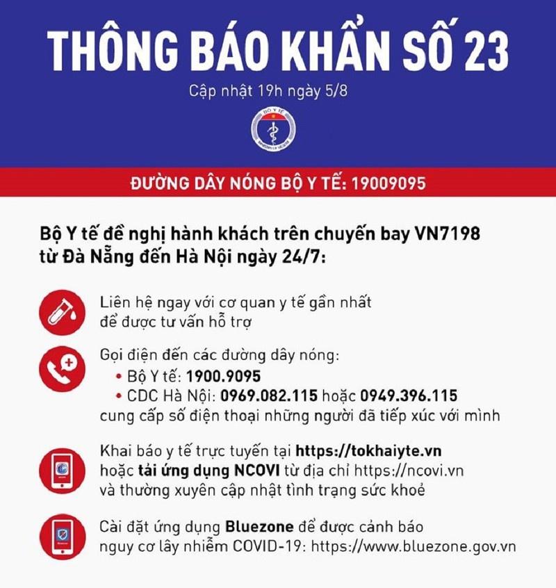 Bộ Y tế ra thông báo khẩn số 23