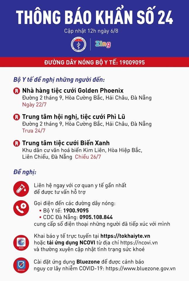 Thông báo khẩn số 24 của Bộ Y tế