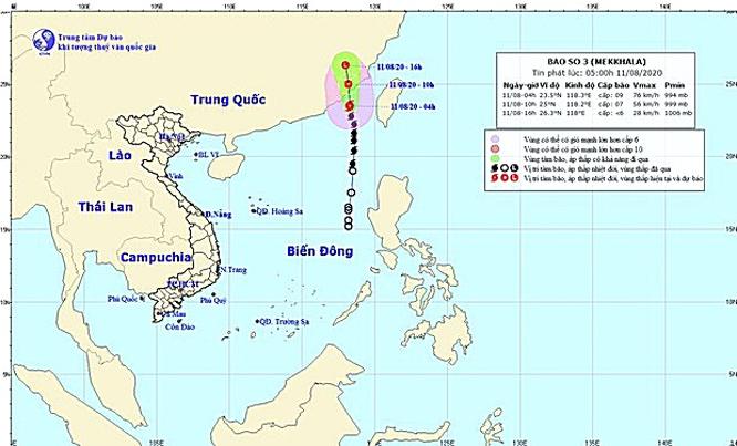 Bão số 3 vào Trung Quốc, nhiều vùng biển động rất mạnh