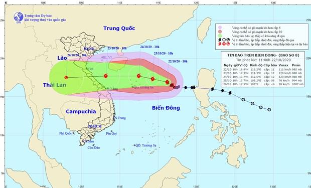 Dự báo đường đi bão số 8 có thể quét vào khu vực Quảng Bình-Quảng Trị