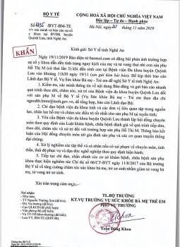 Bộ Y tế yêu cầu báo cáo sau sự cố thai nhi tử vong và sản phụ nguy kịch ở Bệnh viện đa khoa Quỳnh Lưu
