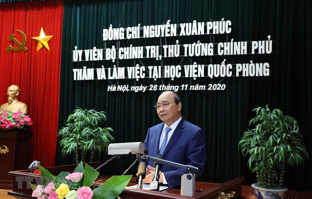 thu tuong nguyen xuan phuc tham va lam viec tai hoc vien quoc phong