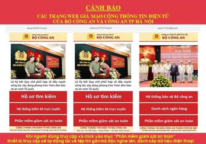 ha noi phat hien 8 trang web gia mao luc luong cong an