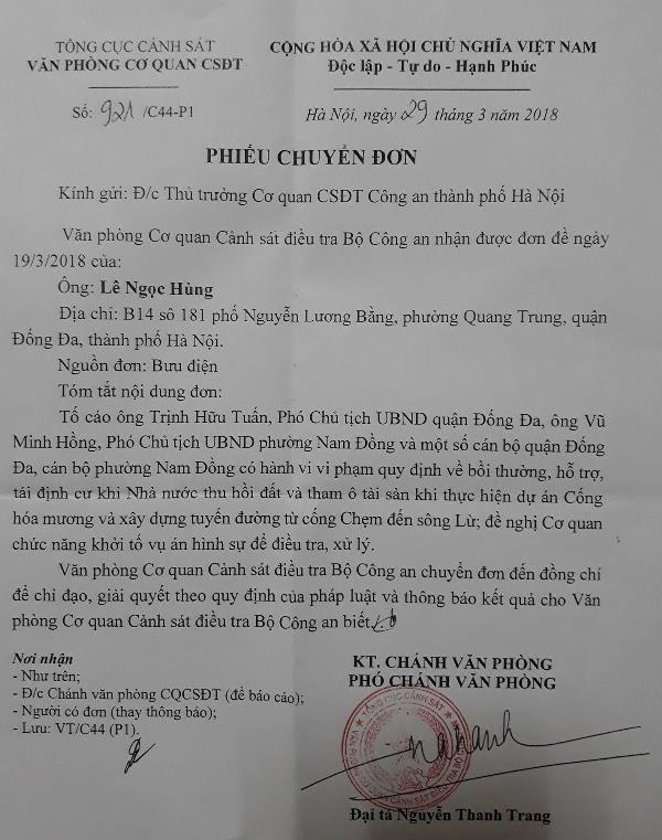 bo cong an chuyen toi cong an tp ha noi chi dao giai quyet vu to cao tham o tai san tai ubnd quan dong da