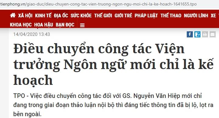 vien han lam khoa hoc xa hoi viet nam da len tieng ve viec dieu chuyen vien truong vien ngon ngu hoc