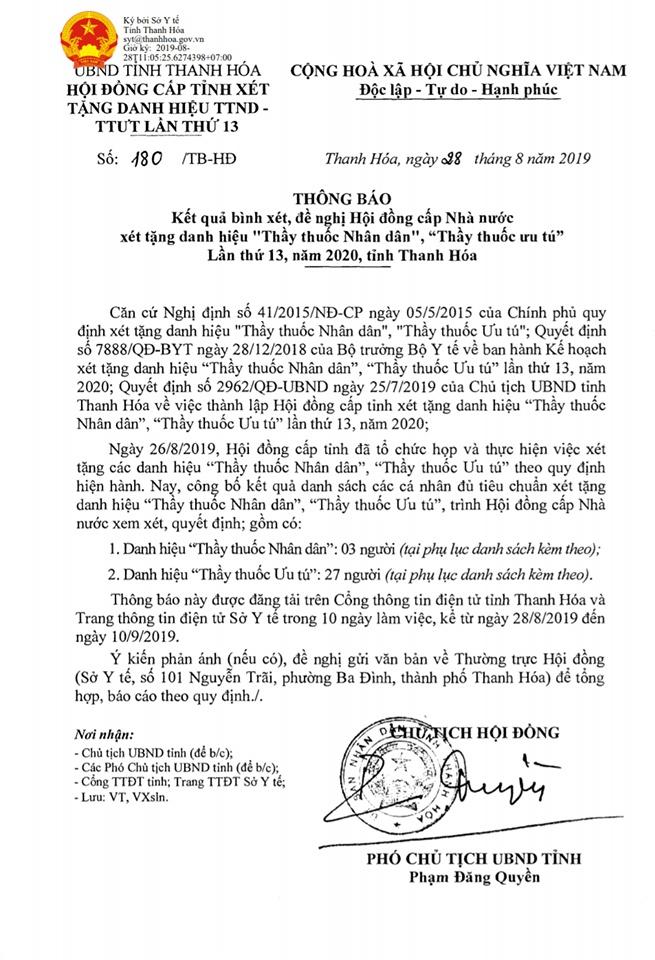 Thanh Hóa: Bị Kỷ Luật Cảnh Cáo Vẫn Được Đề Nghị Hội Đồng Cấp Nhà Nước Xét Tặng Danh Hiệu Thầy Thuốc Ưu Tú