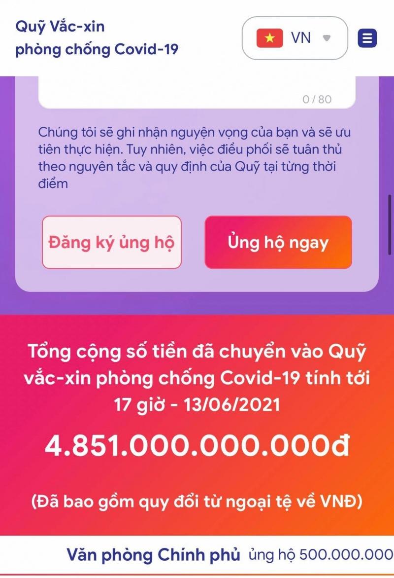 Ra mắt website Quỹ  Vaccine phòng COVID-19