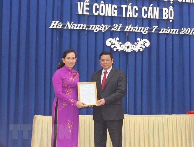 Bà Lê Thị Thủy được điều động giữ chức Bí thư Tỉnh ủy Hà Nam