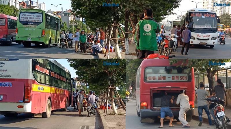 Hà Nội: Loạt xe khách biến mặt đường thành Bến xe